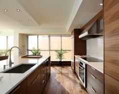 Contemporary Kitchen - Darker Wood hidden dishwasher in same cupboard material/color