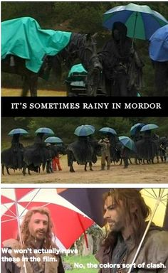 It's sometimes rainy in Mordor... Filli & Killi! :) my favorites! Lol on the set of The Hobbit and Lord of the Rings.