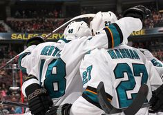 The San Jose Sharks celebrate rookie forward Tomas Hertl's first period goal (Oct. 27, 2013).