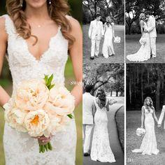 Stylist Classic Full Lace Wedding ceremony Clothes Deep V Neck Backless Sleeveless Mermaid Chapel...