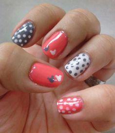 Nails Pink Disney Mickey Dots