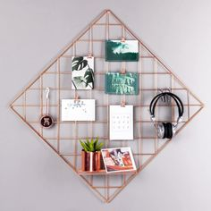 """PLINRISE Mesh Grid Panel,Wall Decor/Photo Wall/Wall Art Display/Organizer,Memo Board Wall Art Decor/Display&Organizer (Rose Gold Diamond, 23.6""""x23.6"""") Frame Wall Decor, Frames On Wall, Wall Art Decor, Frame Decoration, Memo Boards, Simple Living Room Decor, Beautiful Living Rooms, Room Paint Colors, Paint Colors For Living Room"""