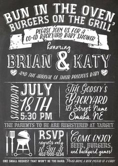 Baby q shower invitation bbq baby shower babyq barbecue baby backyard co ed bbq baby shower chalkboard print invitation and diaper raffle ticket bun in the oven burgers on the grill digital file filmwisefo Gallery