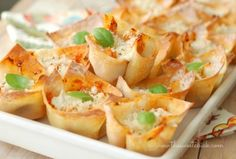 Chicken Parmesan Wonton Cups by The Sweet Chick
