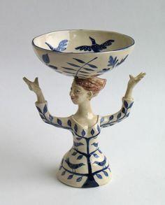 blue tree woman & bowl / helen kemp
