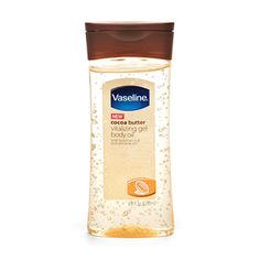 Vaseline Cocoa Butter gel: this stuff is amazing...put on before bed and wake up with quenched skin. LOVE THIS STUFF