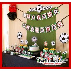 Soccer birthday party package personalized mini by venspaperie Soccer Birthday Parties, Soccer Party, Birthday Cake, Mickey Mouse Vintage, Soccer Banquet, Summer Nails, Oreo, Centerpieces, Packaging