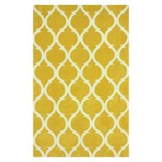 "Anchor your dining room or define an area in the den with this chic hand-tufted rug, showcasing a lovely gold-hued trellis motif.     Product: RugConstruction Material: 100% PolyesterColor: GoldFeatures:Hand-tufted Pile Height: 0.5""Note: Please be aware that actual colors may vary from those shown on your screen. Accent rugs may also not show the entire pattern that the corresponding area rugs have.Cleaning and Care: Spot treat with a mild detergent and water. Professional cleaning is ..."