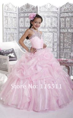 Halter pink ball gown pageant dresses for girls glitter pearls kids ball gowns . Halter pink ball gown pageant dresses for girls glitter beaded kids ball gowns girls long pink page Beauty Pageant Dresses, Pagent Dresses, Girls Pageant Dresses, Gowns For Girls, Pageant Gowns, Ball Dresses, Party Dresses, Dress Party, Prom Party