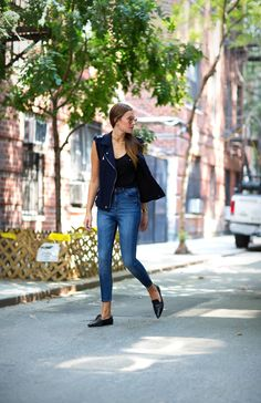 Rebecca Taylor vest, Blank Denim jeans, Miu Miu shoez