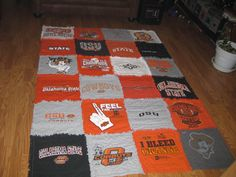Oklahoma State T-shirt Quilt, I could've made a 100 of these over the years w/all my OSU tees!