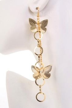 Gold High Polish Metal O Ring Butterfly Dangle Earrings