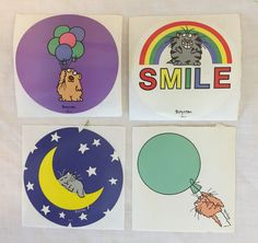 Vintage 1980s BOYNTON Stickers Lot of 4 Stickers Cat Balloon SMILE Stars Moon 4"