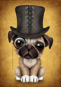 Cute Pug Puppy with Monocle and Top Hat on Yellow