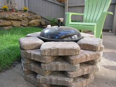 DIY Fire pit-We placed stone around our simple Weber grill to create a fire pit. Perfect for our small backyard and we don't have the clutter of a grill AND a fire pit!