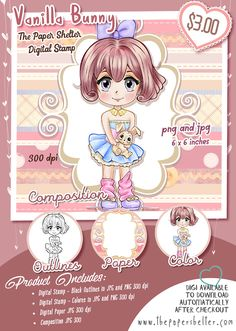 Vanilla Bunny - Digital Stamp A4 Sheet Size, Paper Background, Digital Stamps, Digital Image, Your Image, Card Stock, Vanilla, Bunny, Anime