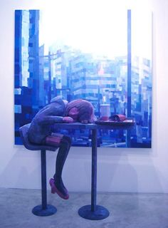 Mixed Media Art Installation (sculpture in front of painting) by Shintaro Ohata.
