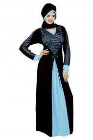 Black Colour Stone Work Lycra Abayas 4