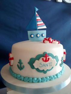 Fun cake at a nautical birthday party! See more party planning ideas at CatchMyParty.com!