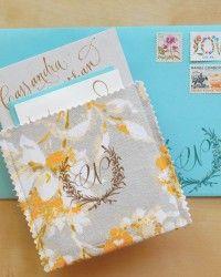 Rubber Stamp Fabric Pocket Wedding Invitations