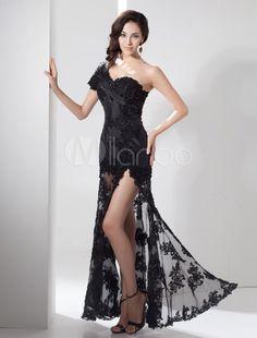 Slit Evening Dress Illusion Train Lace Applique Beading One Shoulder Side  Split Maxi Party Dress Mil 11f4a0a19