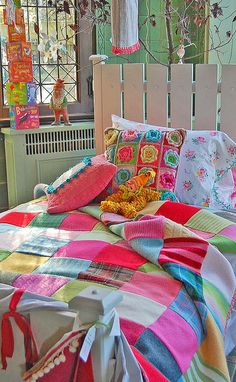this lady has always done a beautiful job of combining texture and color to create amazing quilts, blankets, skirts, pillowcases . . . love this wool-square blanket, crochet pillow, and crochet-trim pillowcase.