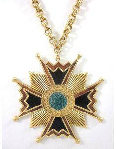 New Erikson Beamon Gold Plated Enamel Large Cross Pendant Chain Necklace | eBay