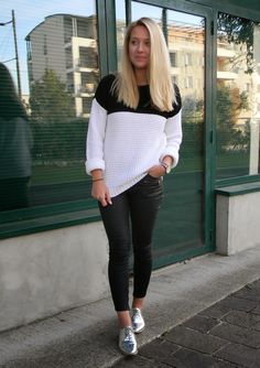 Stand out among other stylish civilians in a white and black crew-neck pullover and black leather skinny pants. Silver leather oxford shoes will bring a classic aesthetic to the ensemble.  Shop this look for $209:  http://lookastic.com/women/looks/white-and-black-crew-neck-sweater-white-and-red-and-navy-watch-silver-oxford-shoes-black-skinny-pants/4226  — White and Black Crew-neck Sweater  — White and Red and Navy Watch  — Silver Leather Oxford Shoes  — Black Leather Skinny Pants