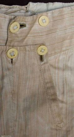 Mens cream linen trousers, c. Historical Costume, Historical Clothing, 18th Century Fashion, 19th Century, Clothing And Textile, Men's Clothing, Empire, Emperors New Clothes, Costumes
