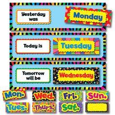days of week teaching chart