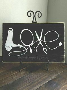 Rustic Wooden Sign Love Stylist Tools Hairstylist by wcbybettina