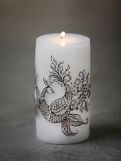 Free People Henna Peacock Pillar Candle