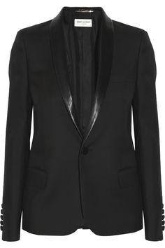 Saint Laurent Leather-trimmed wool-gabardine tuxedo jacket