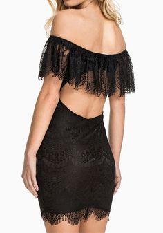 Off Shoulder Lace Dress - Sexy Open Back Lace Dress