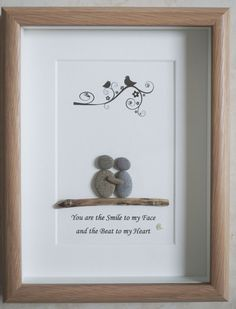 This is a beautiful small Pebble Art framed Picture of a Couple - You are the Smile to my Face and the Beat to my Heart handmade by myself using Pebbles and Driftwood  Size of Picture incl Frame : approx. 22cm x 17cm  Thanks for looking Doris   Facebook: https://facebook.com/Pebbleartbyjewlls4u       Product Code: P - Yellow