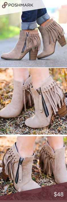"""1 HR SALEHello Fall Fringe Bootie - BEIGE Super comfy and chic faux suede fringe bootie. Fits TRUE TO SIZE. Faux suede with fringe behind heel. Working side zipper.   ~Material: Faux Suede (man-made) ~Sole: Synthetic Measurement Heel Height: 3"""" (approx) Shaft Length: 6.75"""" (including heel)  NO TRADE, PRICE FIRM Bellanblue Shoes"""
