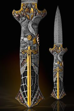 """An incredibly """"Magnificent"""" Knife by two Masters! Joe Kious made this great """"dead Bug"""" Model folder and Master Viatlij Quaranta engraved it superbly. The engraving has to be held to understand how magnificent it really is! The theme is of Roman and Fantasy Warriors. The solid Gold Plates in the hidden pockets have been amazingly engraved as well. A truly """"Rare"""" and """"Great"""" Art Knife."""