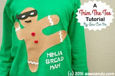 Trim The Tee: Ninja Bread Man Shirt Tutorial | Sew Can Do | Bloglovin'