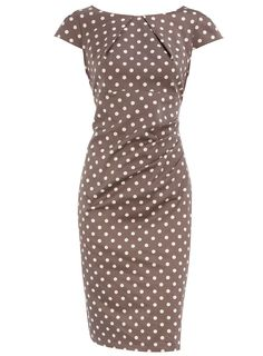 The cut and color of this dress are awesome. I also love the pleats at the neckline and waist because it creates texture and breaks up the pattern of the polka dots!  Do this in solid or a soft print and it would be flattering on all of us.