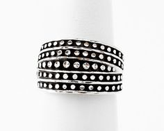 Thick Silver Diamond Cut Band Ring Size 6
