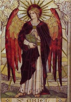 Meet Archangel Uriel, Angel of Wisdom: Archangel Uriel depicted on a stained glass window in St John's Church, Wiltshire, England; designed by James Powell and Sons of the Whitefriars Foundry.