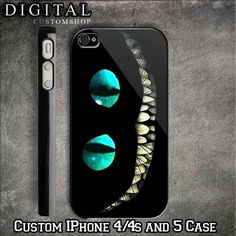 ALICE IN WONDERLAND Cheshire Cat Smile Custom Black iPhone Case 4 / 4S... ($17) ❤ liked on Polyvore