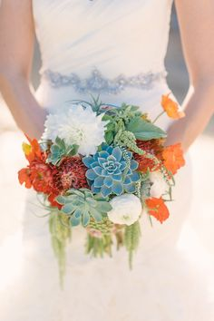Red, Orange and Green Textured Bouquet | Sweet Marie Designs | We Heart Photography | TheKnot.com