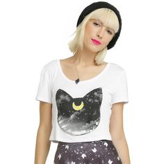Cartoon Network Sailor Moon Luna Head Girls Crop Top ($20) ❤ liked on Polyvore featuring tops, graphic crop top, cat print top, cropped tops, cut-out crop tops and cat crop top