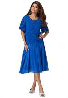 Fit & Flare Crochet Popover Dress | Plus Size Cocktail and Party Dresses | Roamans