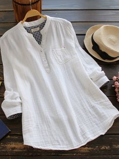 Mori Girl Stand Collar Solid Color Pocket Shirt