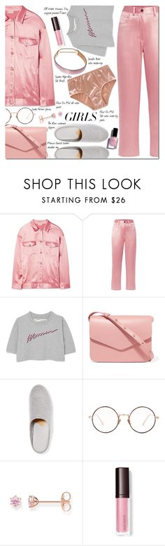 """""""Loud and Proud: Girl Pride"""" by danielle-487 ❤ liked on Polyvore featuring Fleur du Mal, Off-White, Mansur Gavriel, The Row, Linda Farrow, Thomas Sabo, Cirque Colors, womensHistoryMonth, pressforprogress and GirlPride"""