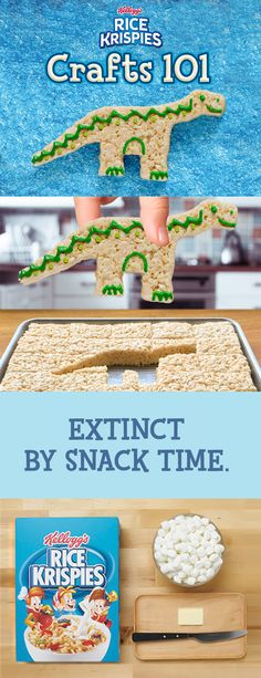 What's better than an arts and crafts project featuring your kids' favorite prehistoric creatures? Eating them afterwards! Using just the homemade Rice Krispies Treats you know and love and frosting, this dinosaur will come to life before your eyes! At least until you eat him...