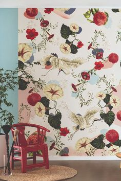 Amazing floral wallpaper with beautiful cranes mural by Caselio.