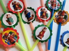 Alvin and the chipmunks party supplies decoration straws! 12 straws 5.00